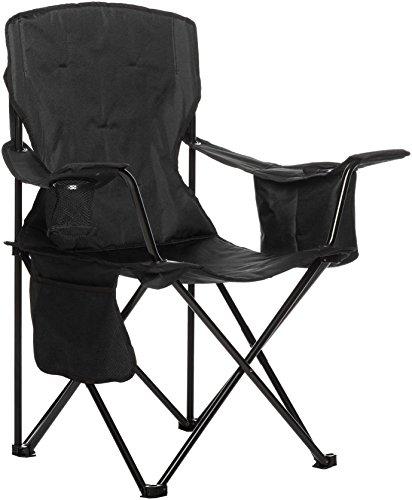 Amazonbasics - sedia da campeggio con tasca termica, nero (imbottita)