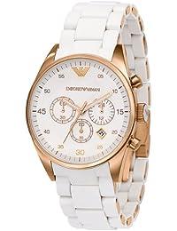 Emporio Armani AR5920 - Reloj cronógrafo de cuarzo unisex con correa de cerámica, color blanco