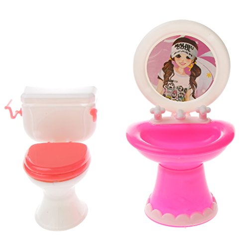 Sharplace Doll Igienici Lavabo in Miniature Plastica Bambole Da Bagno Accessori per Barbie