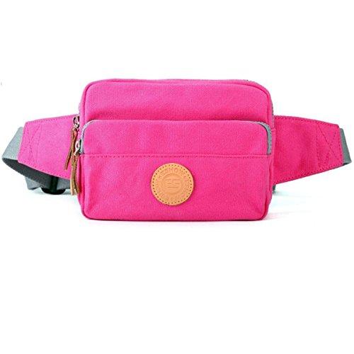 Eshow Borsa marsupio di tela da donna da viaggio rosa