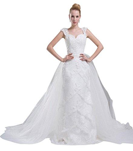 GEORGE BRIDE Schatz Appliques Tiered Tuell mit abnehmbarer Schleppe Brautkleid Brautkleider Hochzeitskleider ,Groesse 40,Weiss