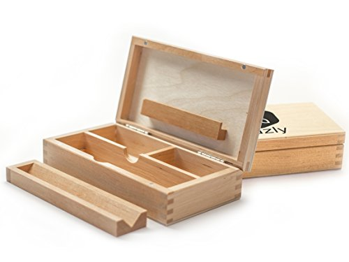 hazly Rolling Box – Joint Box – PREMIUM Weed Madera Maciza, Fischer-Net Humidor de – madera Rolling Box, fabricado en Alemania