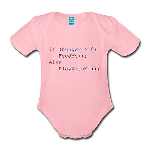 Spreadshirt Javascript Füttern Spielen Feed Me Play with Me Baby Bio-Kurzarm-Body, 62 (2-3 M.), Hellrosa