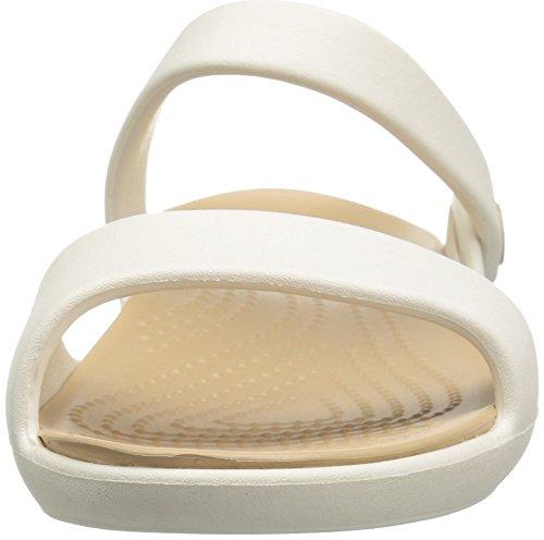Crocs 204268, Sandali Donna Bianco (Oyster/Gold)