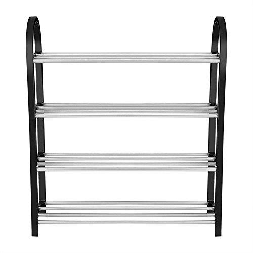 Kunststoff + Aluminium Schuhregal DIY Metall Schuhe Lagerung Regal Home Organizer, Eingangsbereich Regal stapelbar Schrank Schuhe Organizer Lagerung(4 Tiers-50 * 19 * 58CM) -