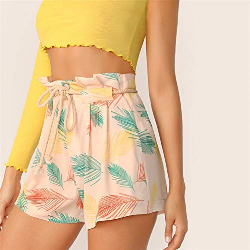 JIAHHF Shorts Print Paperbag Taillenshorts Damen Taillenshorts Button Fly Regular Summer Shorts Button-fly