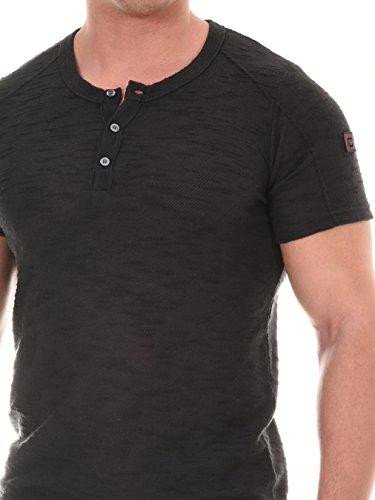 COEN BALE Herren T-Shirt Feinstrick Pulli Kurzarm Regular Fit Rundhals mit Knopfleiste Aus Hochwertiger Baumwollmischung Meliert Gym Fitness Trainingsshirt Training Schwarz