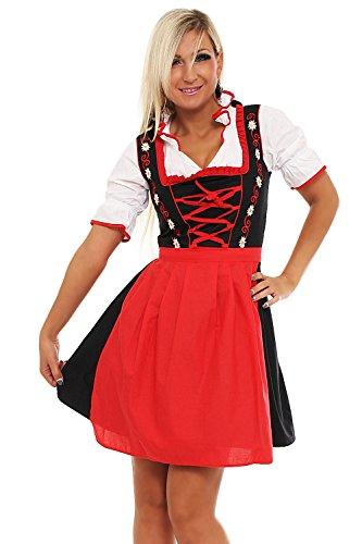 4211 Fashion4Young Damen Dirndl 3 tlg.Trachtenkleid Kleid Bluse Schürze Oktoberfest 4 Farben 4 Größen (38, Rot Schwarz)