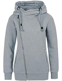 SUBLEVEL Sweatjacke mit Zipper & Kapuze | Cooler Damen Hoodie - schräger Reißverschluss, Uni-farben