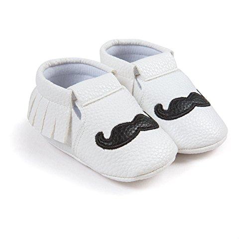 Für Schuhe rutschfeste 12 weiche 8 0 M Auxma Noir schnurrbart Schuhe Blanc 12 Sohle Schuhe Monate Weiche Baby Schuhe quasten px7q5ww