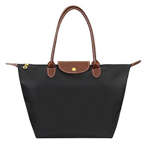 aokayy-stylish-folding-tote-bag-nylon-waterproof-travel-shoulder-beach-bags-shopping-handbag-black