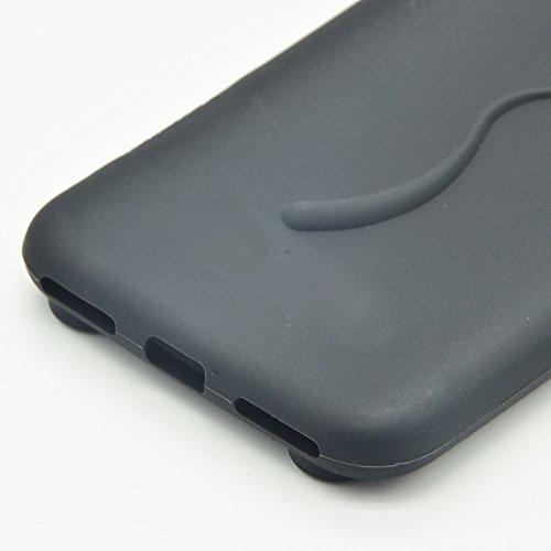 iPhone 7 Silikon Hülle Katze Ohr,Sunroyal iPhone 7 Muster TPU Case Schutzhülle Silikon Crystal Case Durchsichtig, Bunt Green Grün Cat Katze Tail Schwanz Muster Luxus Kristall Crystal Transparent Silik Schwarz