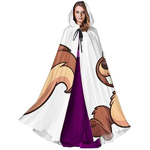 Monican Glückliches Karikatur-Eichhörnchen, das Eichel-Vektor-Umhang-Kleid für Frauen-Frauen-Umhang-Umhang für Weihnachten-Halloween-Cosplay-Kostüme Laufen (Eichel Kostüm)