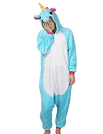 Cosplay Pigiama Animali Unisex Costume Party Halloween Tuta Costumi Flanella Sleepwear S M L XL (Unicorn Blu, XS(130-140CM))
