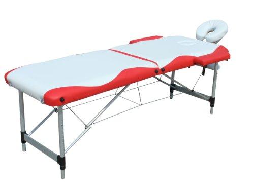 Melko® Tragbare Profi-Massageliege 2 Zonen aus Aluminium und Holz - in verschieden Farben (Aluminium, Weiß / Rot)