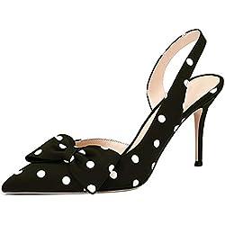 Lovirs Zapatos de tacón Alto para Mujer, con Puntera, Puntiagudos, con Lunares, para Oficina o Fiesta, Color Negro, Talla 37 1/3 EU
