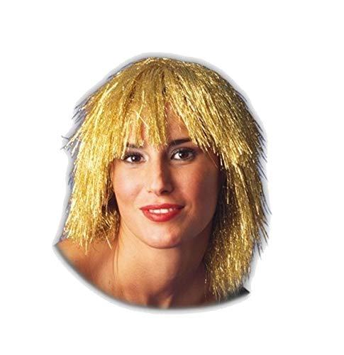 PICCOLI MONELLI Parrucca Metallizzata Donna per Carnevale Parrucca Fili Dorati Adatta Anche per Serate Disco