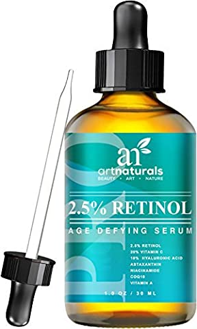 Art Naturals® Enhanced Retinol Serum 2.5% with 20% Vitamin C & Hyaluronic Acid 1oz-Best Anti Wrinkle, Anti Aging Serum for Face & Sensitive Skin -Clinical Strength Organic Ingredients -Night Therapy by (Enhanced Natural)