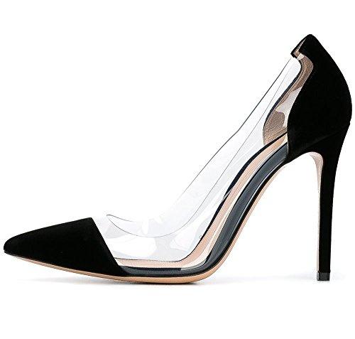 uBeauty Damen Stilettos Slip On Klassische Sexy Transparente Pumps Tägliche High Heels Große Größe Schuhe Schwarz Nubuk
