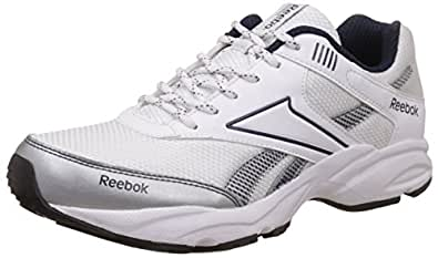 Reebok Men's Exclusive Runner 3.0 White, Dark Blue, Silver and Black Running Shoes - 10 UK
