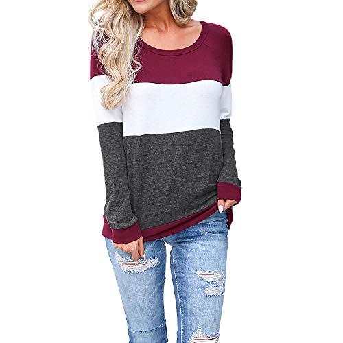 Pullover Patchwork Bluse Mode Langarmshirts Spleißen Hemden Rundkragen Pulli Beiläufig Damen Tops MYMYG Frauen Blusen Hemd Sweatshirts Shirt (B1-Weinrot,EU:36/CN-M)