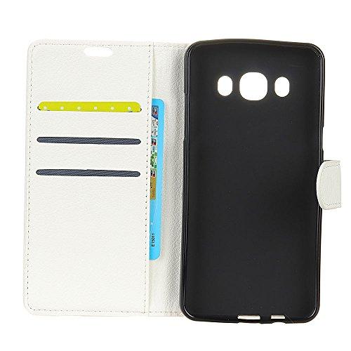 Klassische Litchi Texture PU Leder Schutzhülle Horizontale Folio Flip Stand Case Cover mit Kartensteckplätzen für Samsung Galaxy J5 2016 ( Color : Black ) White