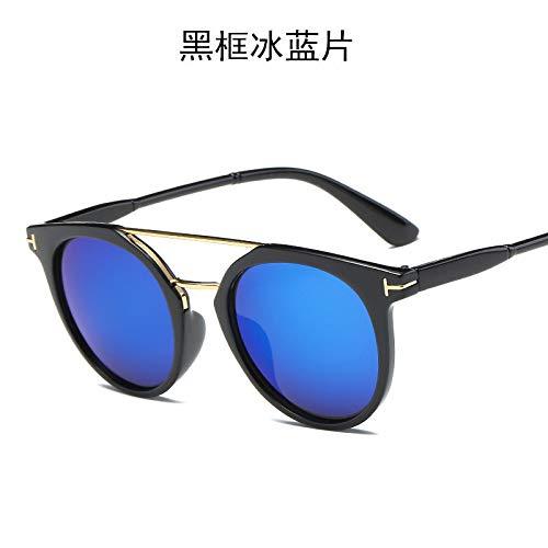 Burenqiq occhiali da sole da uomo in metallo bicolore, occhiali da sole unisex, montatura nera blu ghiaccio