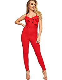 4726727f47 WearAll Women s Layered Ruffle Frill Full Length Crepe Pants Ladies Strappy  Jumpsuit 6-14