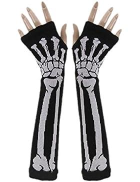 Bluestercool - Unisex Guantes sin dedos (Blanco esqueleto, Largos) (Negro)