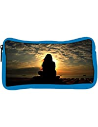 Snoogg Eco Friendly Canvas Girl Silhouette In The Sunset Light Designer Student Pen Pencil Case Coin Purse Pouch...