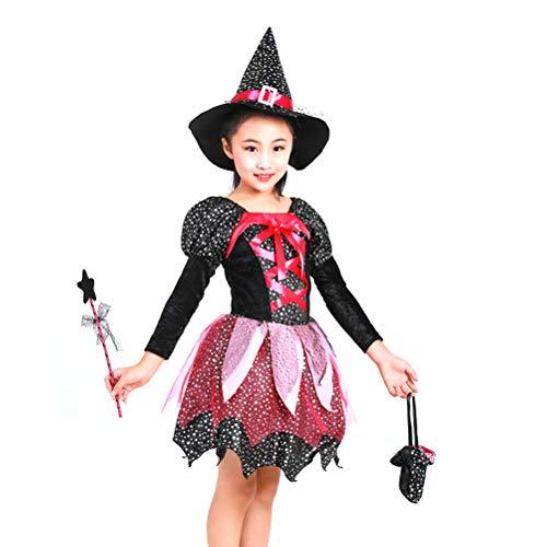 ween Hexe Kostüm Outfit Hexe Dress-up Zubehör für Mädchen von 135cm Größe Größe 140 ()