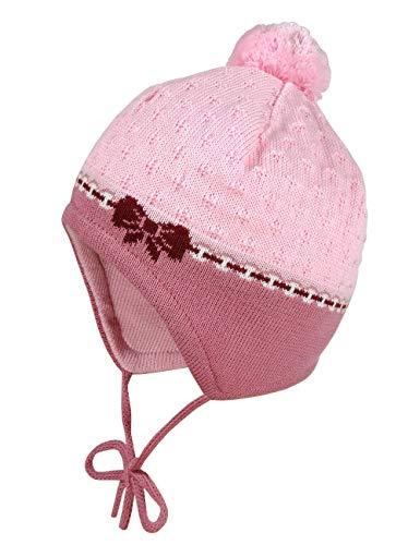 maximo Baby-Mädchen mit Schleifenmotiv und Pompon und Bindeband Mütze, Mehrfarbig (Foxglove/Bordeaux 7545), (Herstellergröße: 45)