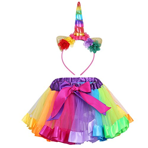 Kinder Clown Tanz Kostüm - Tiaobug Regenbogen Tutu Rock, Einhorn Haarreif 2er Set Puffrock Ballettrock Unterrock Einhorn Kostüm Cosplay Tanz Party Verkleidung Outfits Bunt 104-110/4-5 Jahre