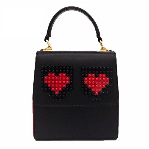 Borsa A Tracolla Portatile Donna Fzhly Fashion Hit Color Blackandred