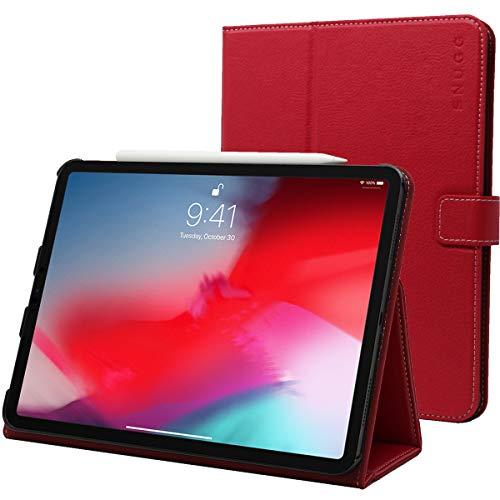 Snugg iPad Pro 12.9Hülle, Leder iPad Pro 12.9 2018 Schutz Klapphülle Case Cover Ständer für Apple iPad Pro 12.9 2018 (Funktioniert mit Apple Pencil) Rot