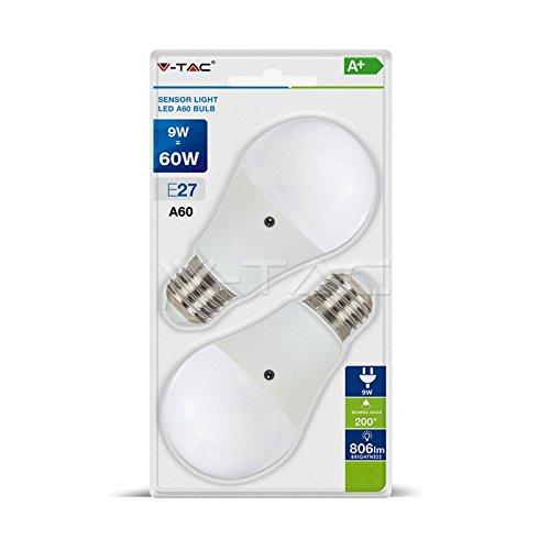 V-TAC 2 Stück E27 LED Lampe 9W=60W SMD BULBO mit Sensor Natürliches Licht 4000 K VT-2109 - SKU 7286