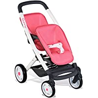 Smoby 253298 Pink Wheel Maxi-COSI & Quinny Twin Pushchair Baby Stroller | Stylish Dolls Buggy with Silent multidirectional Wheels & Ergonomic Handle | Ages 3