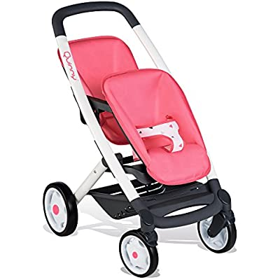 Smoby 253298 Wheel Maxi-COSI & Quinny Twin Pushchair Baby Stroller | Stylish Pink Dolls Buggy with Silent multidirectional Wheels & Ergonomic Handle | Ages 3