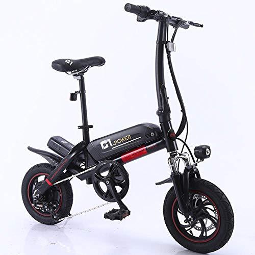MZLJL montaña de la Bicicleta, la batería de Litio Inteligente C1 eléctrica Plegable Bike12inch Mini E-Bici Bicicleta eléctrica de 36V Super Mini E Bike 30 kilometros máxima del Palo, Negro, China