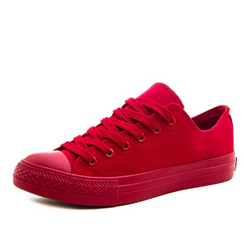 Klassische Unisex Damen Herren Schuhe Low High Top Sneaker Turnschuhe All Red