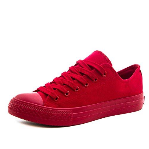 Klassische Unisex Damen Herren Schuhe Low High Top Sneaker Turnschuhe Rot 39 (High-top-schuhe)