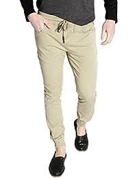 Romano Men's Solid Beige Cotton Jogger Pants Track Pants