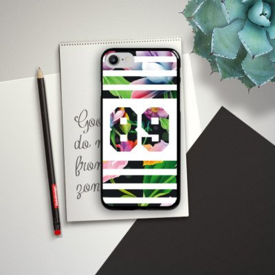 Apple iPhone X Silikon Hülle Case Schutzhülle Flower Blumen College Style Football Hard Case schwarz