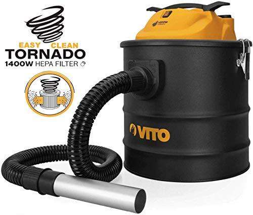 Easy Clean 1400W VITO 18L Aschesauger bis 50°, HEPA Filter mit Filterreinigungsfunktion - 1M Schlauch mit 200mm Aluminiumrohr, Kamin Staubsauger -