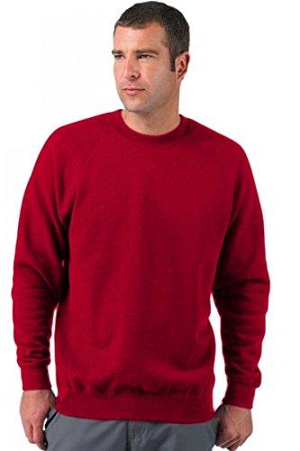 Felpa Girocollo Uomo Russel Felpa Maglia Maniche Lunghe Misto Cotone Felpata, Colore: Rosso, Taglia: XL