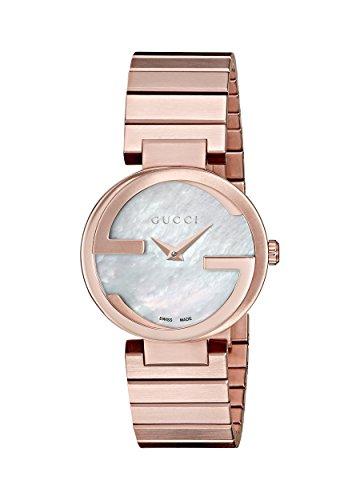 Gucci INTERLOCKING–Reloj de pulsera analógico para mujer cuarzo, revestimiento de acero inoxidable ya133515