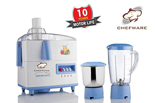 Chefware Appliances Magic Juicer Mixer Grinder, 100% Pure Copper Motor, 2 Jars, 1 Year Warranty On Motor