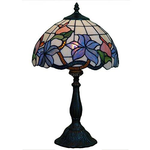 Tiffany-Tischlampe, Blumenmotiv, 30,5 cm, Blau