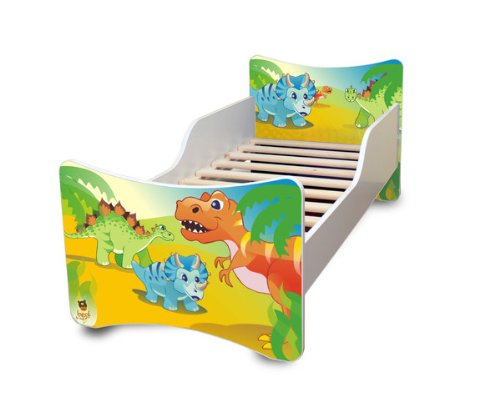 Best For Kids BFK baby bedCHLDREN'S BED with foam mattress with TÜV CERTIFIED Youth bed 70x140 + mattress + slatted frame + WALL STICKER (dinosaur) 4myBaby Cot with mattress 10 cm (TÜV tested foam) & with drawer (if indicated in the title) different designs. Made in the EU. Under the link you will find all the cots we have in the assortment: http://amzn.to/2eWuP4a Bed was made of high quality chipboard and has colorful prints on the fronts. The side panels are white. The imprint was made of ecological colors and additionally laminated, so the colors do not fade and can not be wiped off. The bed edges have a special coating and thus protect your child from injury. The Guardrails Prevents your little one from falling out of bed during sleep. The special production and high-quality materials ensure that all cots we offer are very stable and robust. The slatted frame consists of 2 cm thick cross bars made of wood and holds max. 150 kg body weight. A parent can sit on the bed and also lie with the child. Foam mattress with zippered cover. 4