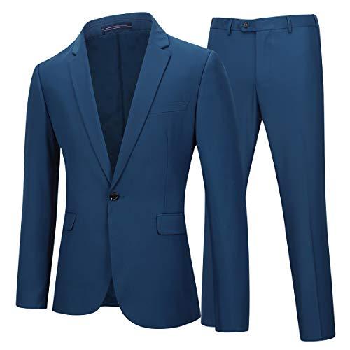 YOUTHUP Herren 2 Teilig Anzüge Slim fit Business Anzug 1-Knopf Anzugjacke mit Anzughose -